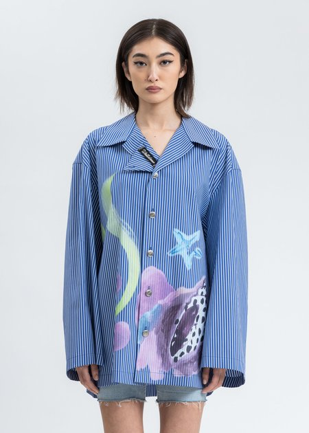 we11done Shell Print Shirt - Blue Stripe