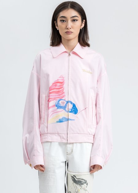 we11done Logo Embroidery and Piping Printed Jacket - Pink