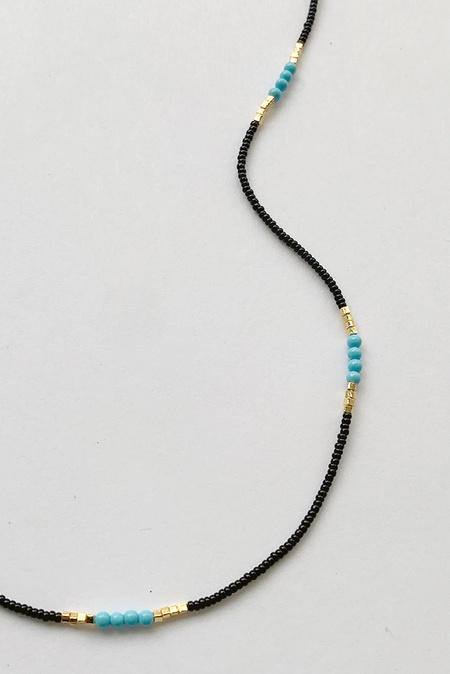 Debbie Fisher Black Seed Beads, Gold Vermeil and Turquoise Necklace - Black/Blue/Gold