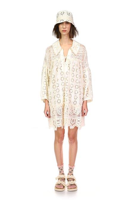 Anna Sui Crochet & Eyelet Lace Florets Dress