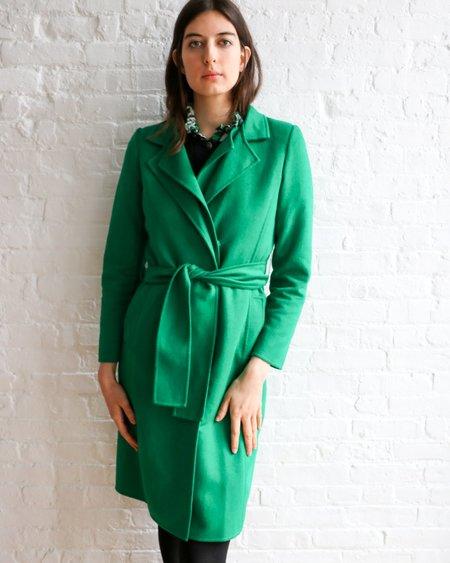 [pre-loved] Oscar de la Renta Mohair Blend Belted Coat - Green