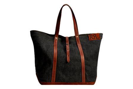 RRL Leather Trim Denim Tote - Indigo