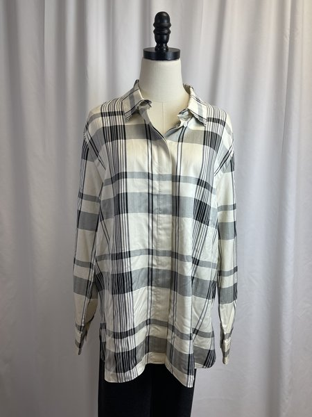 [pre-loved] Theory Silk Blend Plaid Buttondown top - Cream/Black