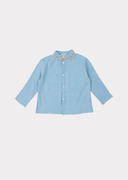 Kids Caramel Conch Shirt - Blue Microcheck