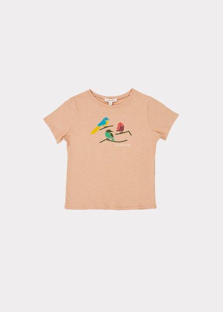 Kids Caramel Otter T-Shirt - Camel Printed Birds