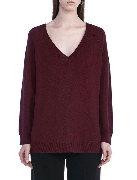 T By Alexander Wang Cashwool Deep V-Neck Sweater - Wine