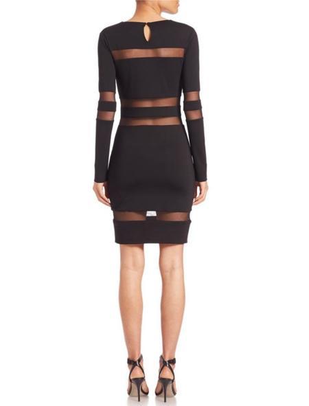 T By Alexander Wang Mesh Stripe Ponte Dress - black