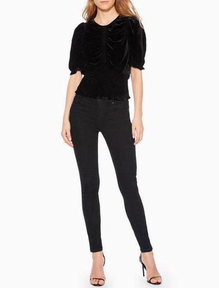 Parker NY Narissa Velvet Blouse - black