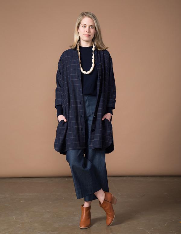 SBJ Austin Stacey Dress - Navy Japanese Woven