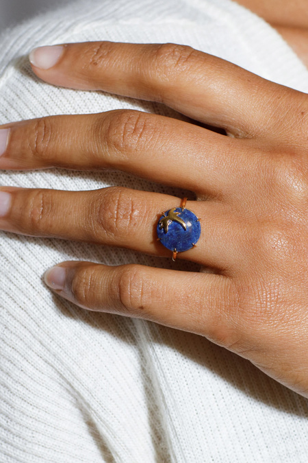 LAUSANNE Ray of Light Lapis Ring - 14k Gold