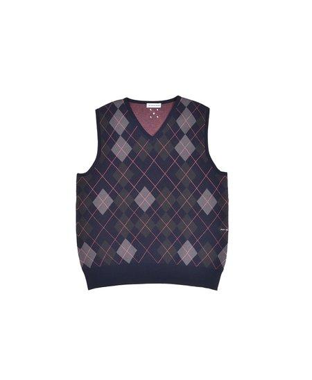 Pop Trading Company Burlington Knitted Spencer Vest - Navy