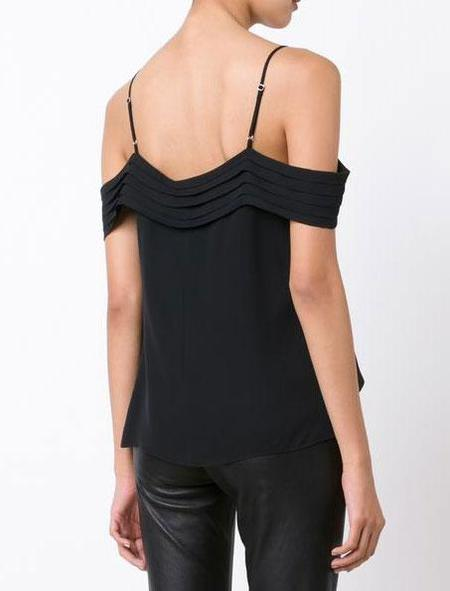 T By Alexander Wang Pleated Off-the-shoulder Top - black