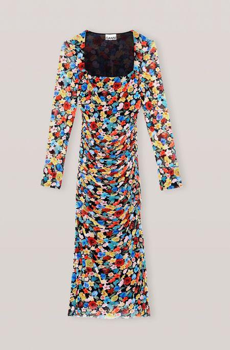 Ganni Printed Mesh Dress - Multicolour