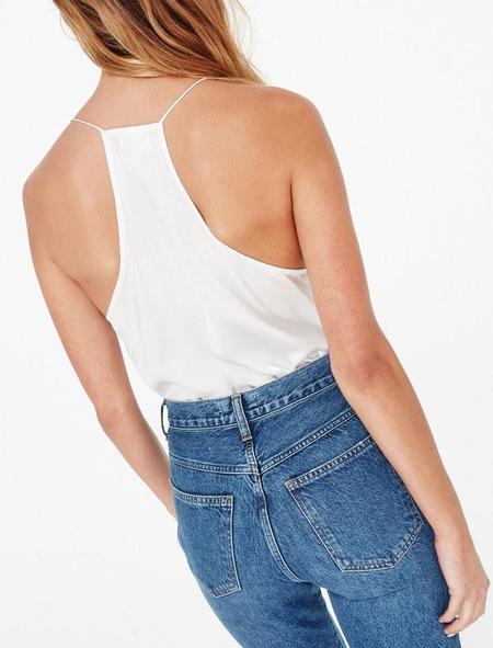 Cami NYC Racer Charmeuse top - white