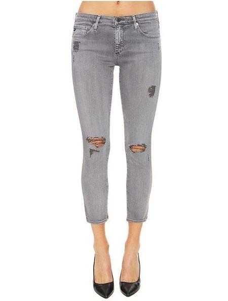AG Jeans Stilt-Crop denim - Sun-faded Worn Shark