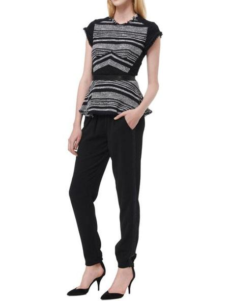 Rebecca Taylor Stripe Tweed Peplum Top - Black