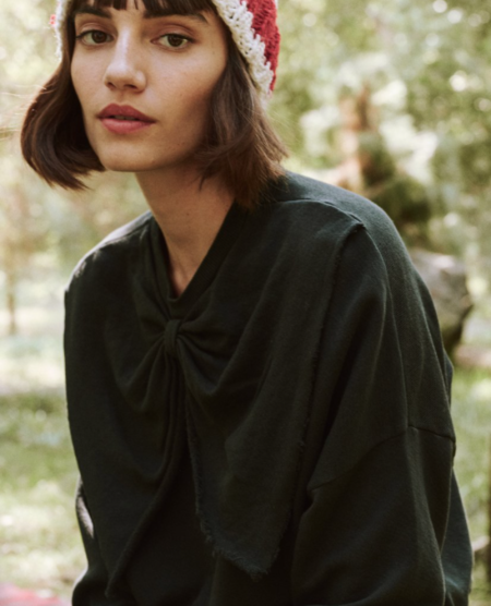 The Great. The Bow Sweatshirt - Almost Black