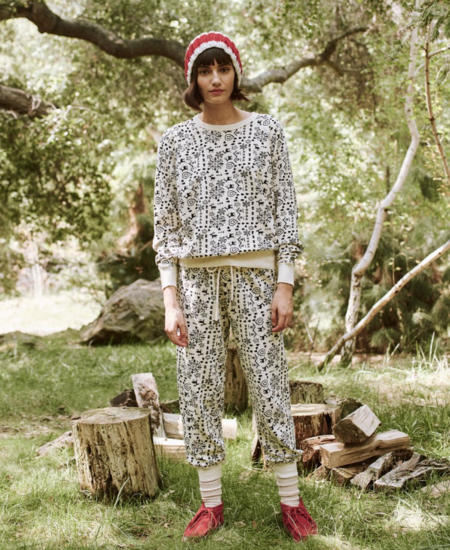 The Great. The Cropped Sweatpant - Washed White Folk Print
