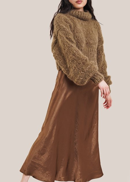 Frisson Knits Cropped Classic Sweater - Taupe