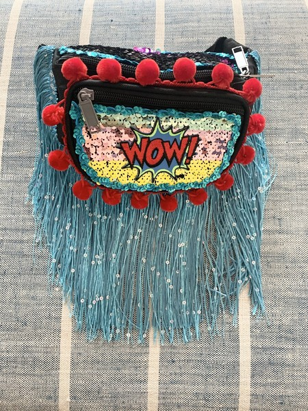Kate McNee Fringe Fanny Pack -  Wow! Red/Blue