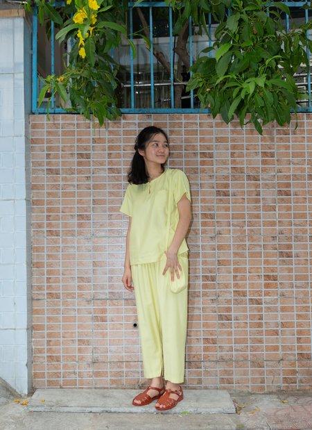 KAAREM An Short Sleeve Pocket Top - Lemon