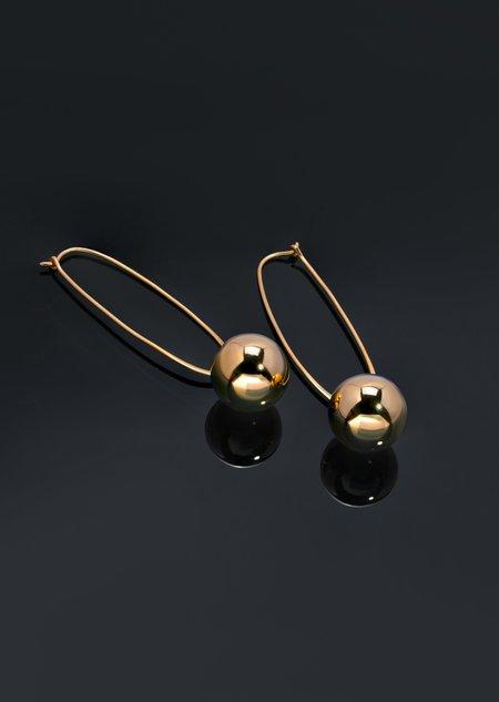 Modern Weaving Elongated Oval Hoop Bead Drop Earrings - Sterling Silver/14K Gold Vermeil