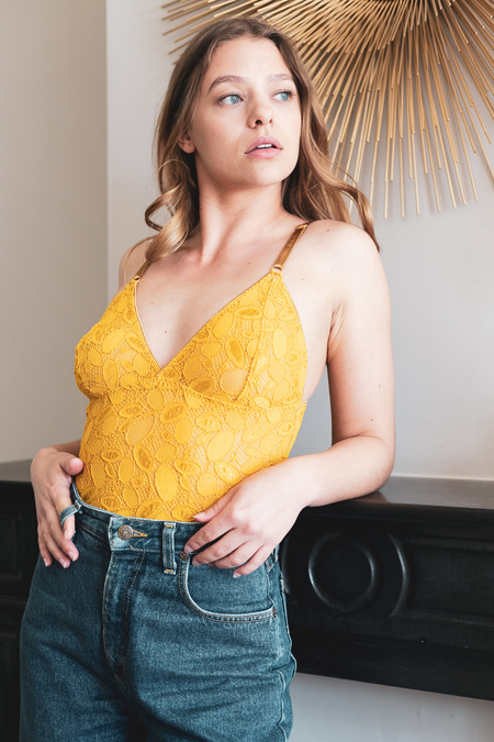 ÔDE lingerie Bodysuit Cassiopée Lace - Gold Sunflower