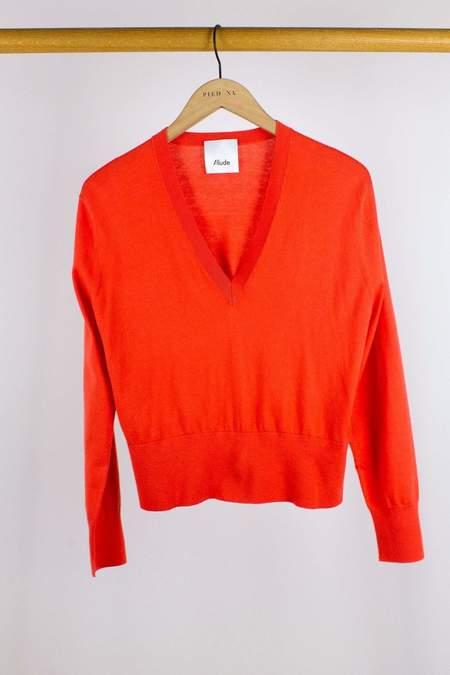 Allude V-Sweater - Coral