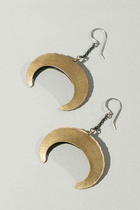 Rattle Battle Crescent Hook Earrings - Brass
