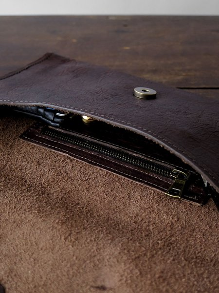 erica tanov bison leather clutch