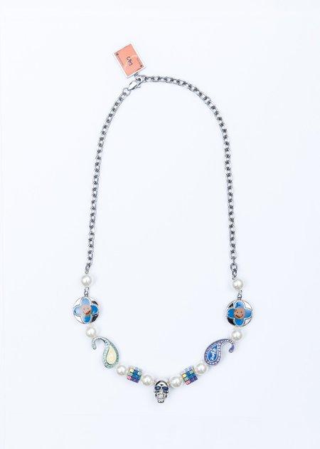 Salute x *EVAE+ Bandana Smiley Necklace - Silver