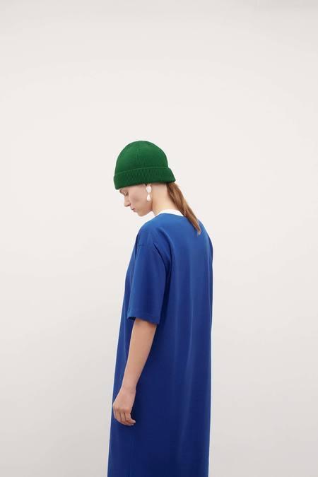 Kowtow V Neck Pleat Dress - bright-blue