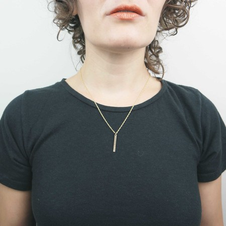 The Artist and the Alchemist F*ck Stamped Vertical Bar Pendant Necklace