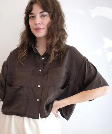 Megan Huntz SANNI BLOUSE - ESPRESSO