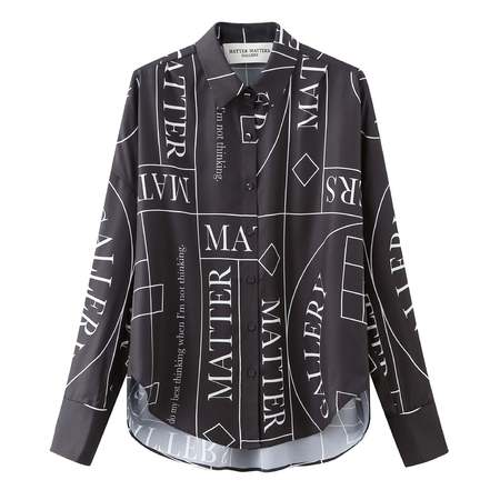 Matter Matters Not Loose Fit Capri Shirt With Patterns - Black
