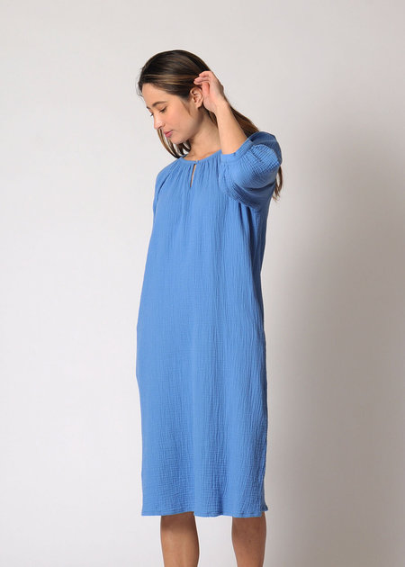 Conifer Reversible Gathered Dress - Sky