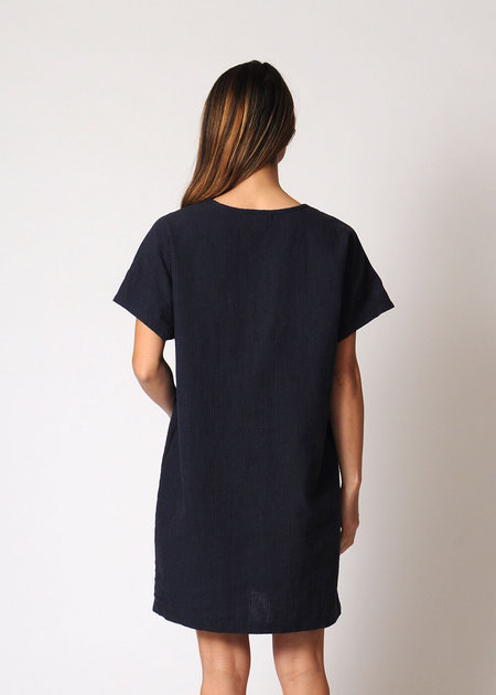 Conifer Linen Mini Pullover Dress - navy micro stripe