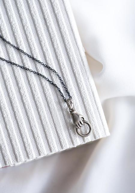 Acanthus Hand Charm Holder Necklace - Silver
