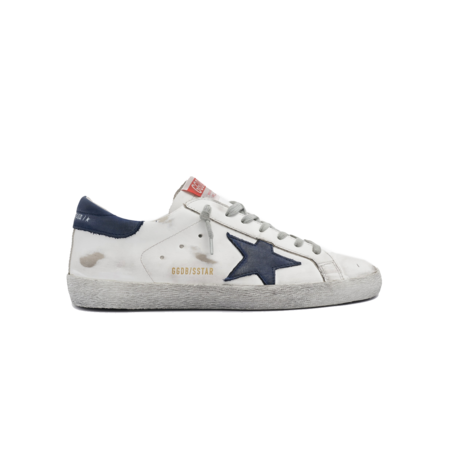 Golden Goose Superstar Leather Upper Sneakers - White/Navy