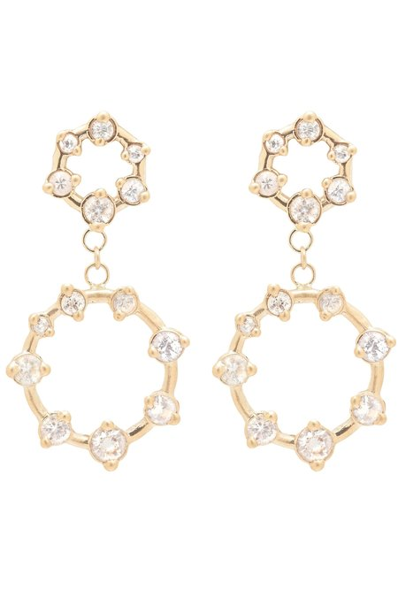 Valley Rose Galaxy Dangle Earrings - White Sapphire