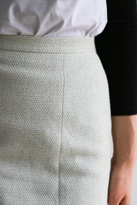 [pre-loved] Chanel Subtle Metallic Mini Skirt - Light Blue