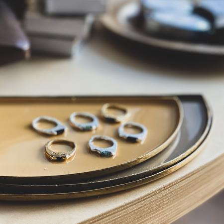 Georgia Varidakis Tourmaline Encrusted Gold Stacking Rings