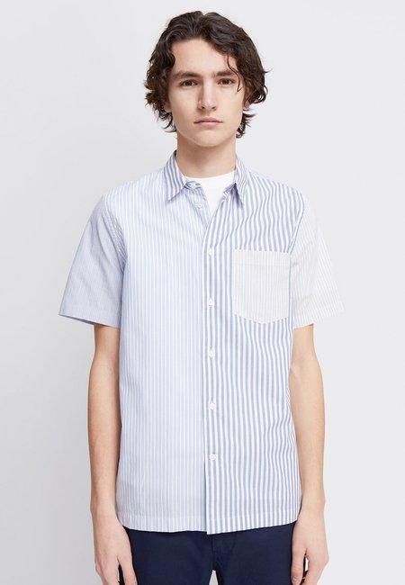 Wood Wood Thor Stripe SS Shirt - blue stripes