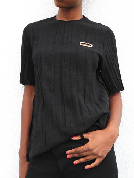 Collina Strada Crinkle Tee with Grommet Detail - Black