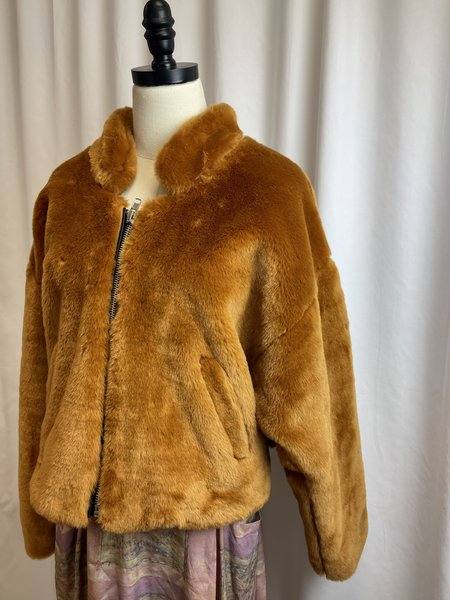 [pre-loved] Free People Faux Fur Bomber - camel