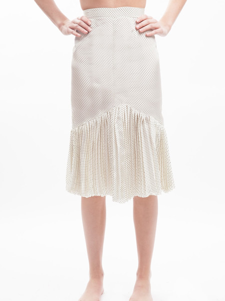 HOH Curate Vintage Silk Dotted Pleated Skirt
