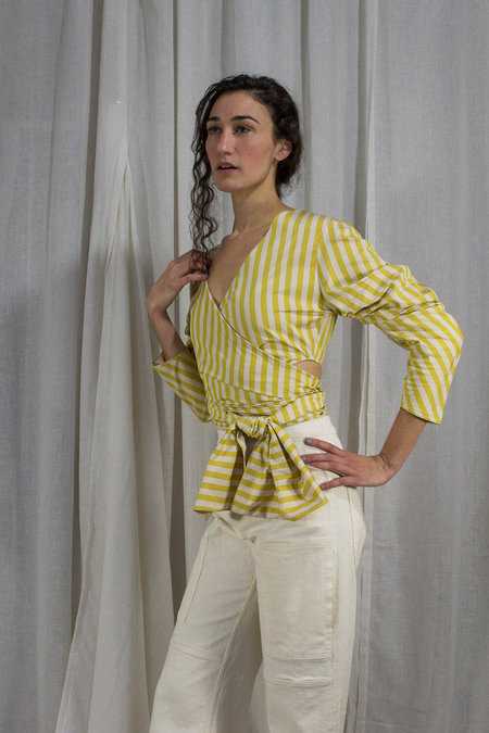 Kahle PUFF SLEEVE WRAP TOP - YELLOW STRIPE