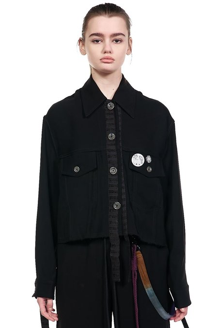 Song for the Mute Bird Cropped Worker Jacket - Black