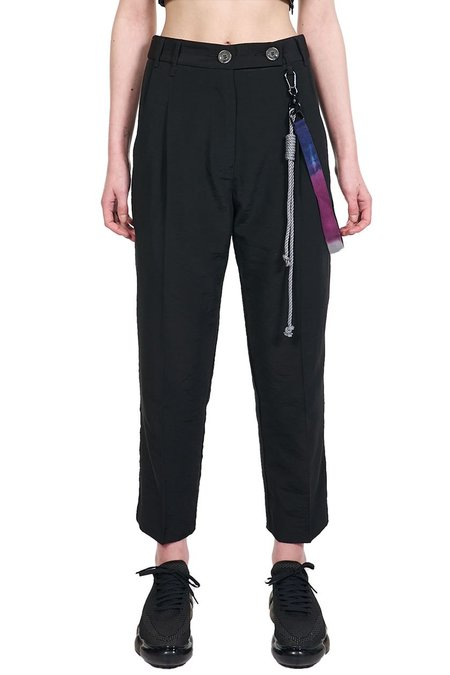 Song for the Mute Tapered Pleated Shell Trousers - black