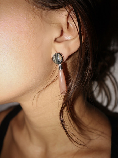 KVK Jewelry Petite Fossilized Woolly Mammoth & Moonstone Earrings